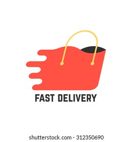 fast delivery with red shopping bag. concept of e-commerce, payment, handbag, paper shopping bag, buyer. isolated on white background. flat style trend modern brand design vector illustration