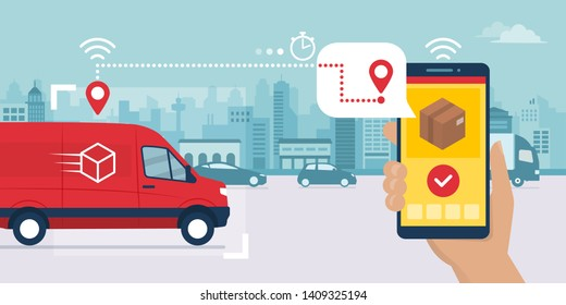 Fast delivery service app on smartphone: van delivering a box and man tracking an order using his smartphone, city street in the background, logistics and technology concept