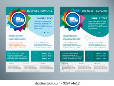 Fast delivery service icon on abstract vector flyer. Brochure design template.