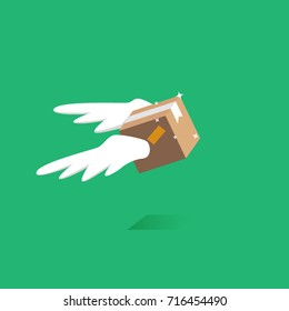 Fast delivery service parcel. Flying package box with wings