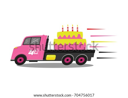 Fast Delivery Service With Truck And Birthday Cake Vector Illustration