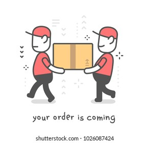 Fast delivery service. Vector creative illustration of two delivery happy man in red uniform with cap holding box. Flat line art style design for web, banner