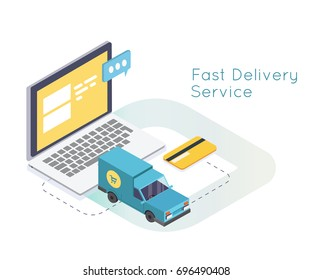 Fast Delivery Services and E-Commerce. Emailing and online shopping. flat isometric vector