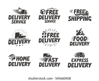 Fast delivery, set icons. Free shipping symbol. Vector illustration