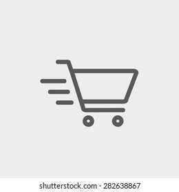 Fast delivery shopping cart icon thin line for web and mobile, modern minimalistic flat design. Vector dark grey icon on light grey background.
