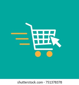 Fast delivery shopping cart sign with cursor arro. simple icon isolated on turquoise background. white store trolley with wheels and wind. Fat vector Illustration. Good for web and mobile design.