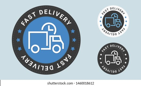 Fast delivery stamp vector illustration. Vector certificate icon. Vector combination for certificate in flat style.