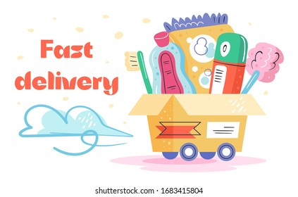 Fast  delivery. Toothbrush, antiseptic,washing powder, deodorant, bath. Fast shop service.  Coronavirus pandemic self isolation, health care, protection. Flat colourful vector illustration, art.