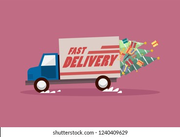 Fast delivery truck carrying christmas trees and gifts. Vector illustration