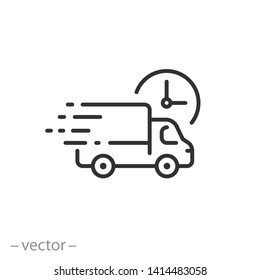 fast delivery truck icon, express delivery, quick move, line symbol on white background - editable stroke vector illustration eps10