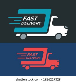 Fast delivery truck icon on dark background. Transport cargo service vector illustration. Silhouette moving van.