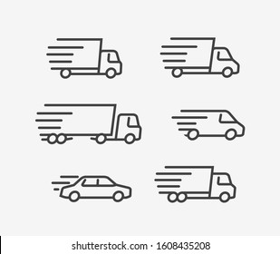 Fast delivery truck icon set. Transport, transportation vector