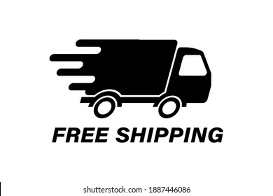 Fast delivery truck with motion lines. Online delivery. Express delivery, quick move. Fast shipping truck for apps and websites. Cargo van moving fast. Chronometer, fast distribution service 24 7