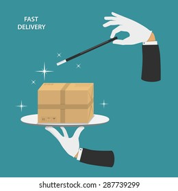Fast delivery vector conceptual illustration. Hands of magician made parcel by magic wand.