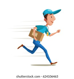 Fast delivery. Vector illustration of running courier with a package. Hurrying the man with a box in hand