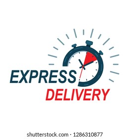 Fast delivery watch service. Express fast delivery service stopwatch icon vector eps10.  fast Delivery watch icon.