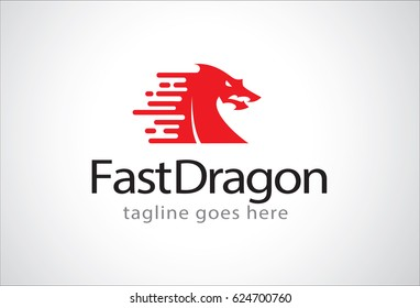 Fast Dragon Logo Template Design