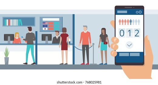 Fast and easy queue app on a smartphone and people waiting in line at the bank front office