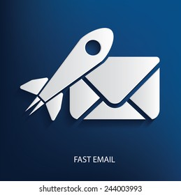 Fast email symbol on blue background, clean vector