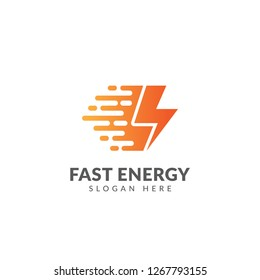 Fast energy logo or icon vector design template with lightning and speed symbol