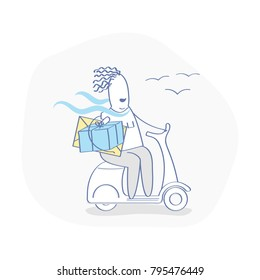 Fast Express Delivery Service. The cute courier - man on the bike or scooter in a hurry to deliver the order - parcels and letters. Isolated Vector Cartoon Illustration in flat outline style.