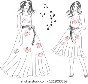 Fast fashion sketch with girls in dresses vector EPS10