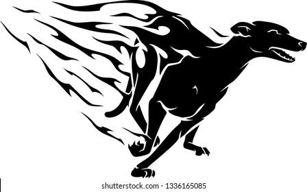 Fast Flaming Greyhound Dog Abstract Illustration