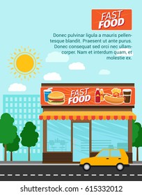 Fast food advertising banner with shop building and landscape. Vector illustration