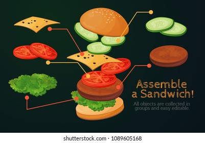 Fast food, American food, Italian food, ready-made design, menu for the restaurant. Separate elements, constructor, assemble yourself. Fresh burger, sandwich. America. USA