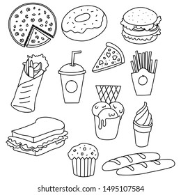 Fast food background. Linear graphic. Snack collection. Junk food. Engraved top view illustration