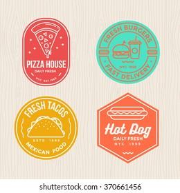 fast food  badges emblem logo banner with modern flat thin line design for pizza, hamburger, tacos and hot dog restaurant.