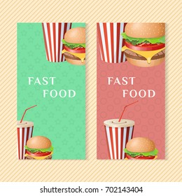 Fast food banners with burger and soda cup. Graphic design elements for menu packaging, advertising, poster, brochure and background. Vector illustration for bistro, snackbar, cafe or restaurant