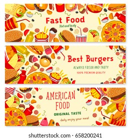 Fast food banners set of burgers, pizza and desserts. Vector fastfood sandwiches, finger food chips and french fries sncak, donut and cakes with ice cream, popcorn and hot dog or chicken grill
