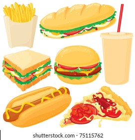 Fast food, big vector set. Without gradients, easy to handle.