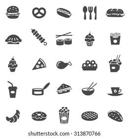 Fast food black icons set.Vector