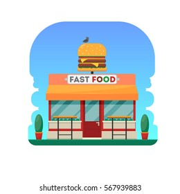 Fast food building with big hamburger. Restaurant design. Vector illustration.