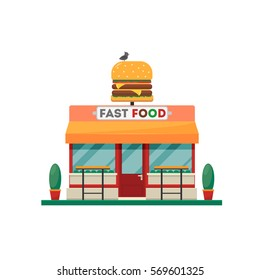 Fast food building with big hamburger. Restaurant design. Vector illustration. Isolated on white background.