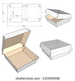 Fast Food Burger Box and Die-cut Pattern