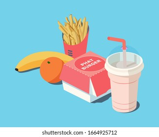 Fast Food. Burger and French Fries in Red Carton Package Box, milkshake, banana, citrus orange on a blue background. 3d vector isometric illustration.