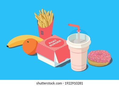 Fast Food. Burger and french fries in red carton package box, milkshake, banana, citrus orange and donut on a blue background. 3D vector isometric illustration. - Shutterstock ID 1922910281
