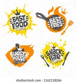 Fast food, burger house, best pizza, fries, logo, signs, symbols, emblems, labels, lettering. Menu restaurant, cafe, bistro, snack bar, eatery. Hand drawn vector Illustration.