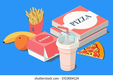 Fast Food. Burger, pizza and french fries in red carton package box, milkshake, banana, citrus orange on a blue background. 3D vector isometric illustration. - Shutterstock ID 1923004124
