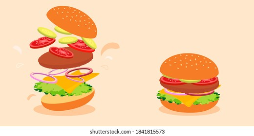 fast food burger, sandwich assembled in layers. cooking take away. Vector illustration, flat design.