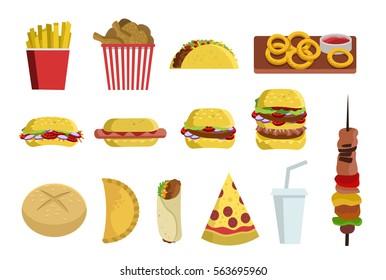 fast food burger sandwich pizza taco onion rings kebab hot dog chicken wings shawarma bread empanada pie soda abd french fries