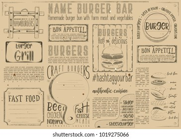 Fast Food -  Burgers -  Drawn Menu Design. Placemat for Restaurant, Bar, Pub and Cafe. Space for Text. Retro Craft Paper Design. Vector Illustration.