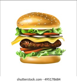 fast food, burgers, salads, chicken, steak, cheese, tomato, illustration, detailed drawing vector