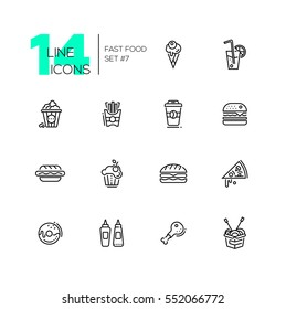 Fast Food Cafe Menu - set of modern vector line design icons. Hot dog, hamburger, french fries, sandwich, pizza, ice cream, soda, muffin, bakon, ketchup, mustard, pop corn, donut, sandwich, coffee