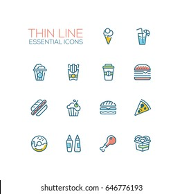 Fast Food Cafe Menu - set of modern vector line design icons. Hot dog, hamburger, French fries, sandwich, pizza, ice cream, soda, muffin, bacon, ketchup, mustard, pop corn, donut, chicken