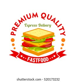 Fast food cafe and sandwich shop sign of ham and cheese sandwich with tomato, cucumber and lettuce, header Express Delivery and ribbon banner with stars