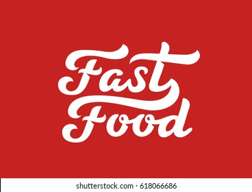 Fast Food calligraphic text logo vector Lettering composition. Creative Design calligraphy trendy vintage typography.